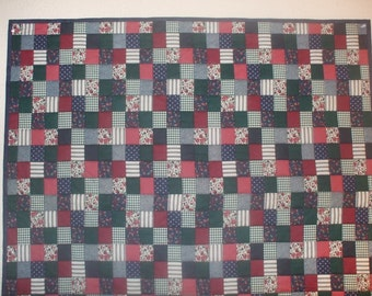 Country Squares Mock Patchwork Quilt FREE SHIPPING