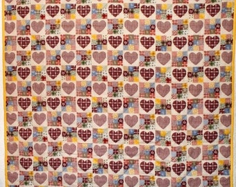 Nine Patch and Hearts   A Mock Patchwork Lap Quilt  FREE SHIPPING