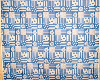 Blue and White Mock Patchwork Lap Quilt  FREE SHIPPING