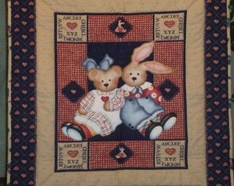Daisy Kingdom Bear and Bunny Baby Quilt FREE SHIPPING