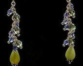 Iolite, Swarovski Crystal, and Green Chalcedony Drop Earrings