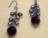 Amethyst and Pearl Cascade Earrings