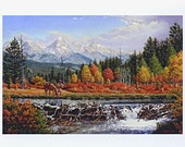 CURLEE- signed ACEO Western Mountain Trapper And Beaver Dam Landscape Art