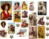 Cowgirls  No. 1 - Digital Collage Sheet - Instant Download