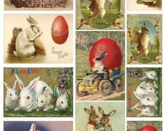 Vintage Bunny Rabbit Postcards No. 1 - Digital Collage Sheet - Instant Download
