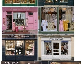 Window Shopping in France - Digital Collage Sheet - Instant Download