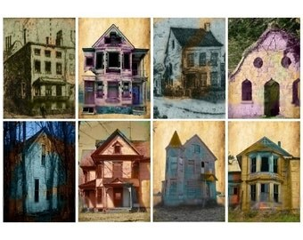 Grunge Abandoned Buildings - Digital Collage Sheet - Instant Download