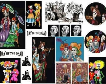 Dia de los Muertos No. 2 - Day of the Dead  - Digital Collage Sheet - Instant Download