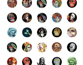 Day of the Dead Bottlecaps - 1 Inch Circles - Digital Collage Sheet  - Instant Download