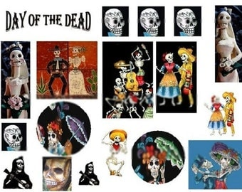 Dia de los Muertos No. 1 - Day of the Dead - Digital Collage Sheet - Instant Download