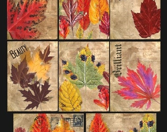 Autumn Leaves - ACEO Size - Digital Collage Sheet - Instant Download