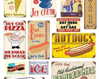 Retro 1950s Signs No. 2 - Digital Collage Sheet - Instant Download