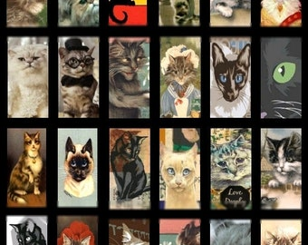 Cats No. 1 Domino - 1x2 - Digital Collage Sheet - Instant Download