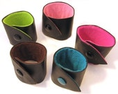 Black Leather CUFF - lined in pink lime blue yellow brown  XS- XL custom lining