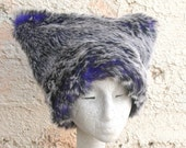EXTRA SMALL Midnight Wolf Kozy Kitty Hat. KIds Faux fur hat  Black White Deep Blue. XS only children clothing accessories