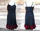 Hints of Sanguine  - Black Reconstructed Slip Dress M - upcycled clothing noir party dress ruffle clothing asymmetric lace fashion