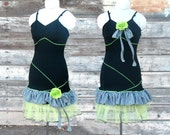 Toxic Chex - Black Slip Dress reconstructed vintage slip  homecoming dance upcycled clothing OOAK one off