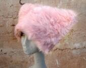 Pink Polka faux fur hat - Kozy Kitty hat Fuzzy Pink Raver hat Women Girls XS S M  L XL fuzzy fur burning man hat - Runz with Scissors dots