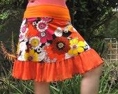 ORANGE Flower Power Mini Skirt Eco Fashion 1960s Vintage fabric womens summer skirt ruffle upcycled clothing Custom xs SM or MED  fashion