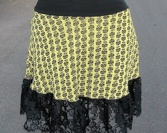Black Rose LICHTENSTEIN Punk Mini Skirt 1970s vintage fabric skirt gypsy lace Sm Med Large XL XXL womens plus size blacklight toxic yellow