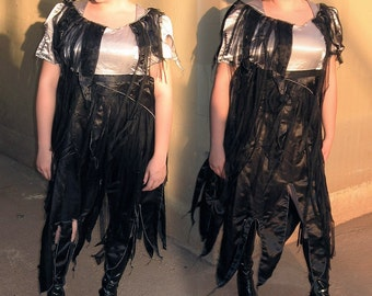 ZOMBIE MAID Plus size Dress - Black and Silver tattered shredded dyed bridesmaid Zombie Dress --  size 18 adult halloween costume
