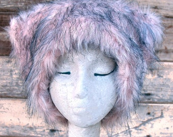 Dirty Kitty - Kozy Kitty HAT  - fuzzy faux fur hat EDM raver pale  pink black women festival clothing runswithscissors