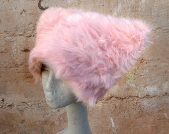 Pink Polka faux fur hat - Kozy Kitty hat Fuzzy Pink Raver hat Women Girls  fuzzy fur - Runz with Scissors dots