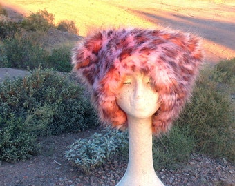 Pink Leopard faux fur hat - Kozy Kitty Pink Pussy cat - Sm Small Med Medium fuzzy hat RunzwithScissors Burning Man desert warm hearts plaid