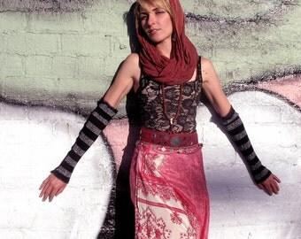 Stripe Silver & Black Arm warmers - Opera Steampunk Gauntlet Gothic Sleeves harajuku burning man costume armwarmers