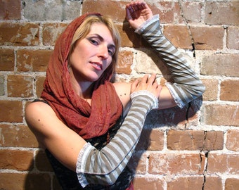 Olive & Silver Armwarmers - Harajuku Arm Warmers Steampunk Gauntlet Sleeves Opera length elven cirque festival clothing