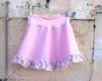 Baby Plaid Mini Skirt - womens ruffle fashion pink vintage fabric summer skirt upcycled clothing stripes XS Sm Med Large XL XXL teens skirt