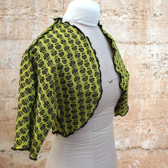 Black Rose Blacklight Shrug - Yellow DIY Benday dots Womens Shrug from Vintage 1960s fabric crazy punk Blacklight