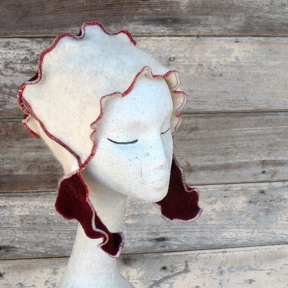 Cherry Whipped CURLY FLAP FEZ beanie wool ear flap hat felt upcycled wool from vintage sweaters