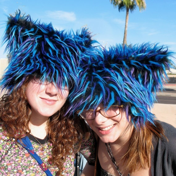 UV Fireworks Kozy Kitty faux fur hat fuzzy raver hat MEDIUM only black blue purple EDM party gifts woman cat hat men Burning Man hat
