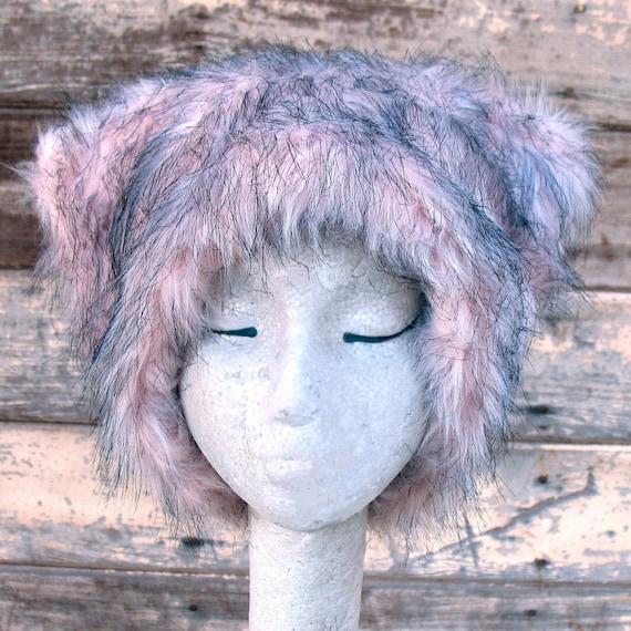Dirty Kitty - Kozy Kitty HAT  - fuzzy faux fur hat EDM raver pale  pink black women festival clothing runswithscissors