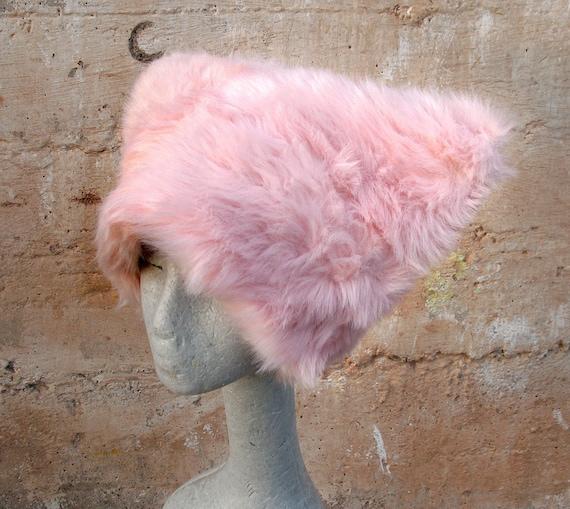 Pink Polka faux fur hat - Kozy Kitty hat Fuzzy Pink Raver hat Women Girls  fuzzy fur - Runz with Scissors dots