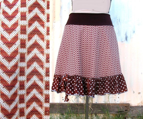 Island Railroad womens Skirt  XS SM MED 1970s vintage fabric - chevron stripes rust white brown skirt - ruffle clothing upcycled clothing