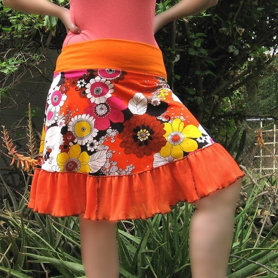 ORANGE Flower Power Mini Skirt Eco Fashion 1960s Vintage fabric womens summer skirt ruffle upcycled clothing Custom xs SM or MED  fashion