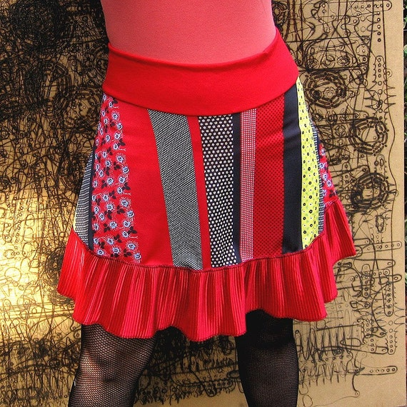 Poly Punk Patchwork Skirt - Black Stripe Vintage fabric mini skirt -  red accordion ruffle -- XS Small Medium only
