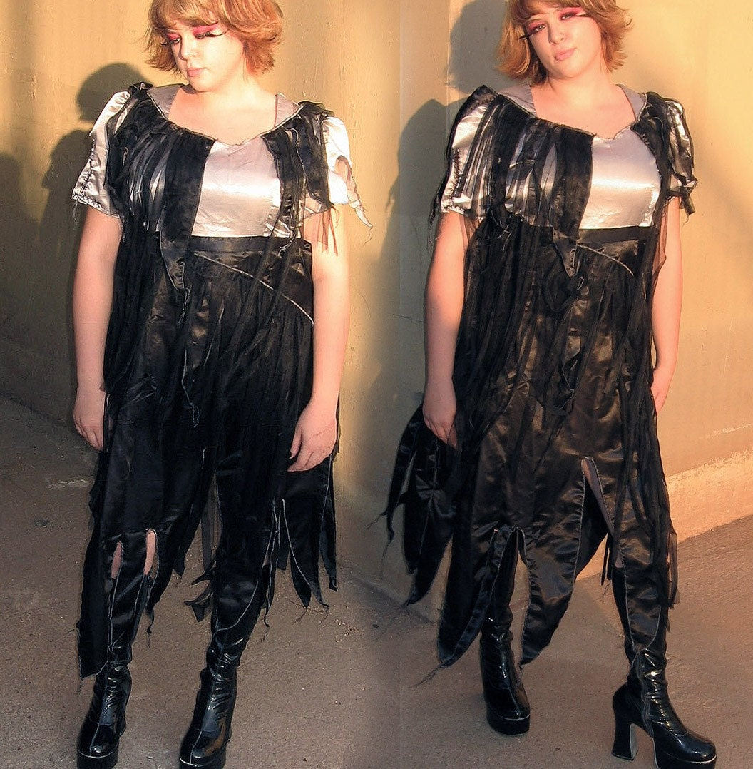 Plus Size Gothic Prom Dresses: ZOMBIE MAID Plus Size Dress Black And Silver By