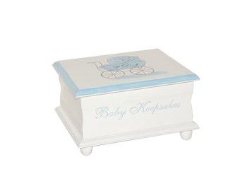 Baby Carriage Keepsake Memory Box personalized