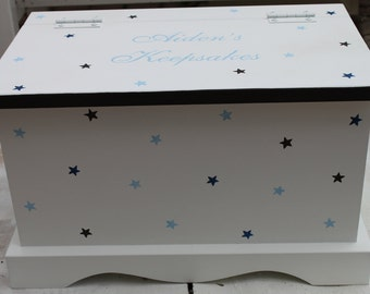 Baby keepsake box baby memory box Blue and Navy Stars baby keepsake chest box personalized baby boy shower gift hand painted