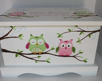 Owl Keepsake Chest  green/pink baby memory box personalized baby gift hand painted