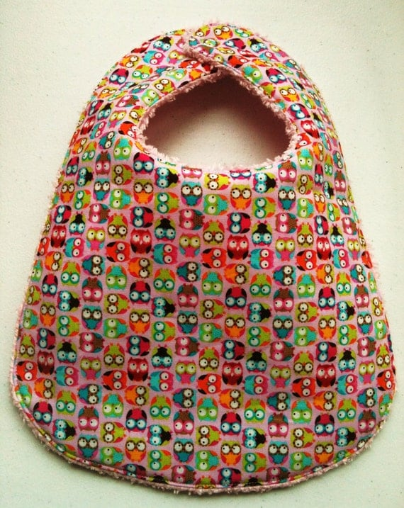 Boutique Chenille Baby Bib -  Mini Tossed Owls Pink