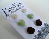 Free Shipping, 15% Off - Flower & Heart Post Earring Set - Mint Chocolate
