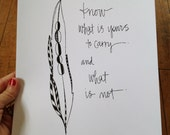 know what is yours to carry and what is not  - 9x12 inch print - feather wisdom series - paint or color your own
