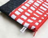 Pouch - Denim and Red Grid Screenprint
