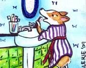 PEMBROKE WELSH CORGI ART PRINT Before Bed 4X6 CORGI ART by Valerie Brock
