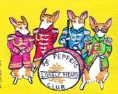 PEMBROKE WELSH CORGI ART PRINT SGT Pepper's Lonely Hearts Club Band 4X6 Beatles CORGI ART by Valerie Brock