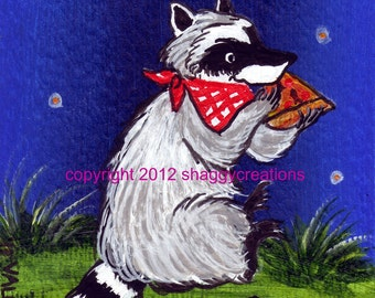 "Raccoon Art Card  ~ Original  Painting ACEO ""Pizza Pie"" Animal Art ~ Woodland Animal Art ~ Nursery Decor ~ Collectible Animal Art Cards"